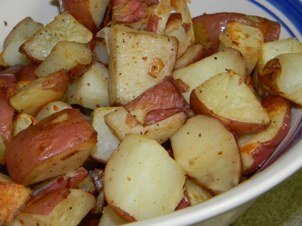 My favorite way to eat potatoes! Roasted with salt, pepper and olive oil!