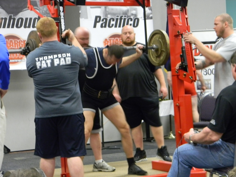 Just a quick picture I took at the power lifting competition; I don't think he'd mind my posting this. The face is blurred anyway!